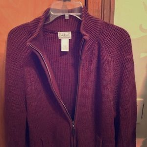 Mens LL bean full zip up cardigan.